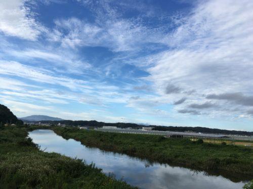 福島県いわき市の藤原川からの景色