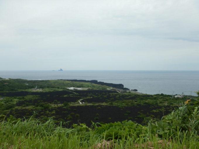 三宅島の阿古地区を一望