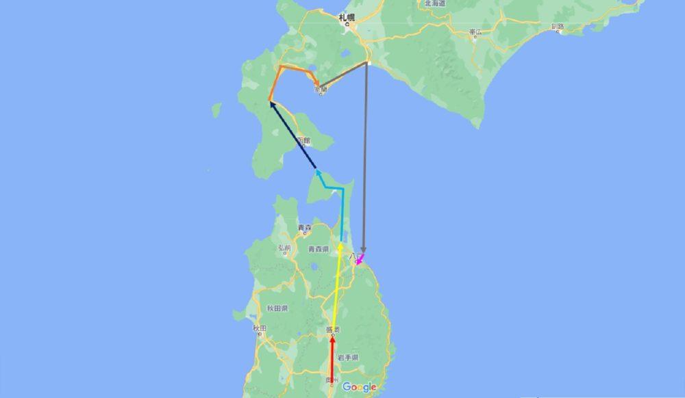 本州最北端の旅マップ
