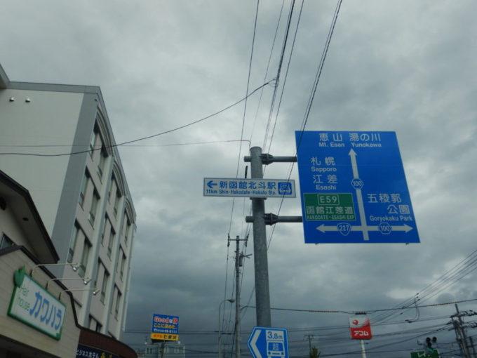 新函館北斗駅を示す案内看板