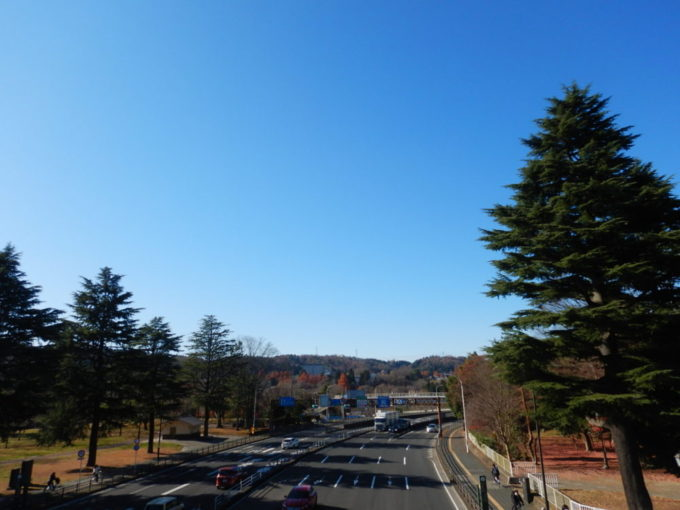 仙台市、歩道橋の上から見る国道48号